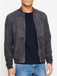 Reiss Basse Suede Bomber Jacket Grey