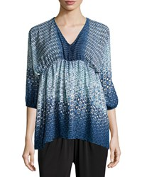 Romeo And Juliet Couture Geometric Print V Neck Blouse Blue Multi