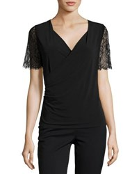 T Tahari Zella Lace Sleeve Knit Top Black