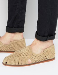 Asos Woven Sandals In Stone Suede Stone