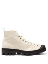 Loewe Canvas Lace Up Boots White Black