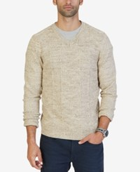 Nautica Men's Multi Texture V Neck Sweater Only At Macy's Oyster Brown