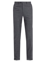 Brioni Mid Rise Slim Leg Wool Blend Trousers Navy