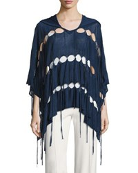 Haute Hippie Patriot Fringe Hooded Poncho Blue