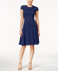 Alfani Lace Jacquard Fit And Flare Dress Only At Macy's Modern Navy
