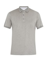 Brioni Contrast Collar Cotton Jersey Polo Shirt Grey