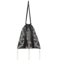 Attico Crystal Embellished Pouch Black