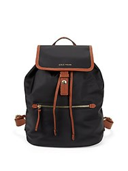 Cole Haan Snap Flap Draw String Backpack Black