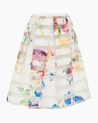 Ted Baker Hoona Tapestry Floral Burnout Skirt Pastel Yellow