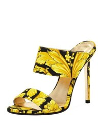 Versace Baroque Print Twill Mule Pump Black Gold