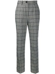 Dolce And Gabbana High Rise Check Trousers Black