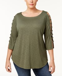 Love Scarlett Plus Size Strappy Sleeve Top Military
