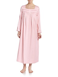 Oscar De La Renta Sleepwear Cotton Cozy Satin Long Gown Peachy Pink