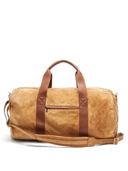 Brunello Cucinelli Leather Trimmed Suede Holdall Beige