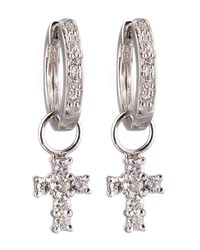 Cross Charm Huggie Earrings Kc Designs White Gold