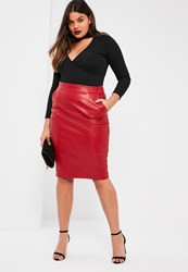 Missguided Plus Size Exclusive Red Faux Leather Midi Skirt