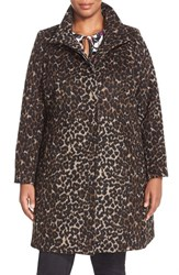 Plus Size Women's Via Spiga Leopard Print Stand Collar Coat