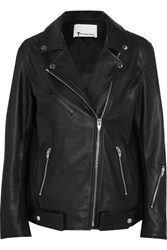 Alexander Wang T By Oversized Leather Biker Jacket Black