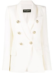 Balmain Double Breasted Structured Blazer White
