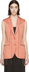 Cedric Charlier Pink Embroidered Vest