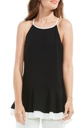 Vince Camuto Women's Colorblock Halter Style Top Rich Black