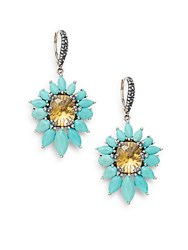 Stephen Dweck Turquoise Citrine And Sterling Silver Flower Drop Earrings