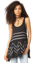 Free People Voile And Lace Trapeze Tank Black