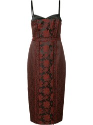 Cinq A Sept Floral Jacquard Midi Dress Crimson