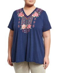 Jwla Plus Draped Back Embroidered Tee Navy