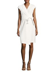 Lafayette 148 New York Grayson Solid Cap Sleeve Wrap Dress Cloud