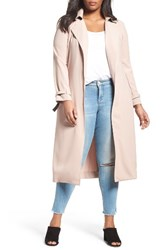 Elvi Plus Size Women's Belted Long Trench Coat