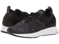 Puma Ignite Evoknit Lo Black Electric Purple Quiet Shade Women's Running Shoes