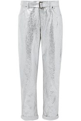 Tom Ford Metallic Crinkled Cotton And Linen Blend Tapered Pants Silver