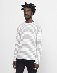 The Idle Man Striped Long Sleeve Jumper White