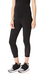 Ingrid And Isabel Active Mesh Detail Capri With Crossover Panel Black