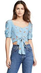 Astr The Label Faye Top Sky Blue Pansy