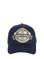 Dsquared Logo Patch Cotton Baseball Hat Blue