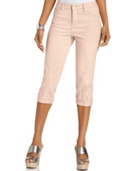 Styleandco. Style And Co. Tummy Control Cuffed Capri Jeans Pink Bliss