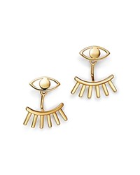 Moon And Meadow Eye Lash Ear Jackets In 14K Yellow Gold 100 Exclusive