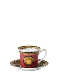 Versace Medusa Red Espresso Cup And Saucer Red Gold