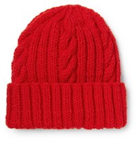 Connolly Cable Knit Wool Beanie Red