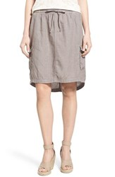 Women's Caslon Linen Utility Skirt Grey Cloudburst