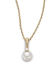 Mikimoto 6Mm White Cultured Akoya Pearl Diamond And 18K Yellow Gold Pendant Necklace No Color