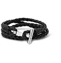 Tom Ford To Woven Leather And Palladiu Plated Wrap Bracelet Black