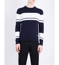 Armani Jeans Striped Knitted Jumper Blue