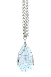 Eye Candy Los Angeles Crystal Cage Pendant Necklace Blue