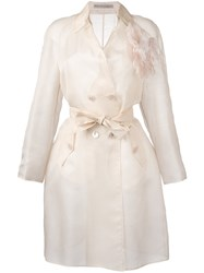 Ermanno Scervino Belted Lightweight Coat Nude Neutrals