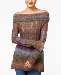 American Rag Off The Shoulder Rainbow Sweater Only At Macy's Dusty Olive