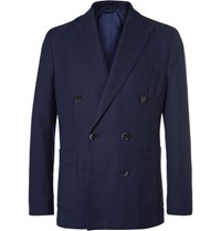 Hackett Blue Slim Fit Double Breasted Cotton And Wool Blend Hopsack Blazer Navy