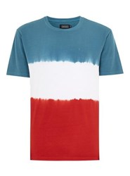 Antioch Multi Red White And Blue Tie Dye Embroidered T Shirt
